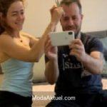 Eşi Emre Aydın'ın saçlarını kesti
